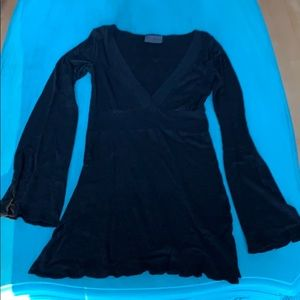 Michael Stars Black Shimmer deep V neck tunic